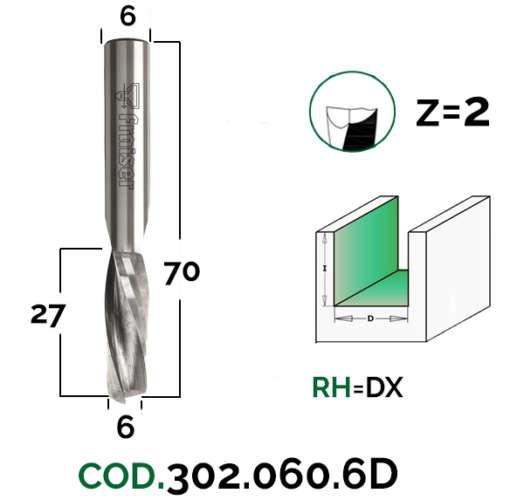 Fraiser 6mm Double Flute Up Spiral Router Bit